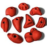 ALPIDEX 9 L/XL Klettergriffe im Set verschieden Geformte Griffe und Leisten in vielen Farben, Farbe:Power Red