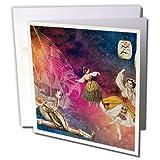 3DROSE GC 264663_ 56x 15,2cm'fantasy Dancing gypsy Shakespeare Fool Colorful Sky Ship'–Biglietto di auguri