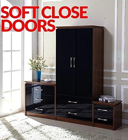 Delvito PREMIUM High Gloss 3 Piece Bedroom Furniture Set - 2 Drawer Wardrobe, 3 Drawer Chest, Bedside Cabinet (Black/Walnut)