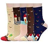 CityComfort Slipper Socks 3D Novedad Cute Animal Knitted Extra Warm Slippers Súper Soft Winter Wool (calcetines de la casa de 5 paquetes)