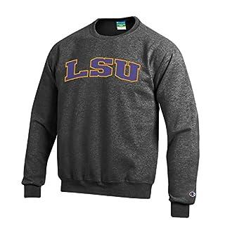 Champion NCAA Louisiana State Tigers Men's Eco Power Blend Crew Neck Sweat Shirt, Small, Gray