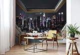 New York Skyline Der Stadt In Der Nacht 3D-Dachfenster-Ansicht Vlies Fototapete Fotomural - Wandbild - Tapete - 416cm x 290cm / 4 Teilig - Gedrückt auf 130gsm Vlies - 10417VEXXXXL - New York