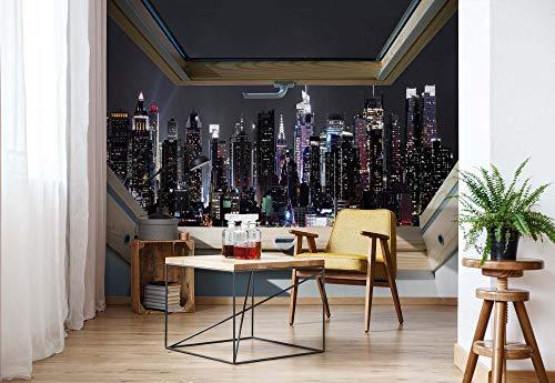 fototapete dachfenster New York Skyline Der Stadt In Der Nacht 3D-Dachfenster-Ansicht Vlies Fototapete Fotomural - Wandbild - Tapete - 416cm x 290cm / 4 Teilig - Gedrückt auf 130gsm Vlies - 10417VEXXXXL - New York