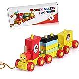 Juego de trenes de madera para niños pequeños - Apilamiento de juguetes educativos de madera para niños por NimNik