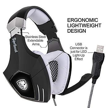 Sades OMG/A60S Stereo Surround USB Cuffia Gaming con Microfono Noise Cancelling Stereo Bass da Gioco Gamer LED Luce Regolatore di Volume per PC Mac Laptop Computer(Nero/ Bianco)