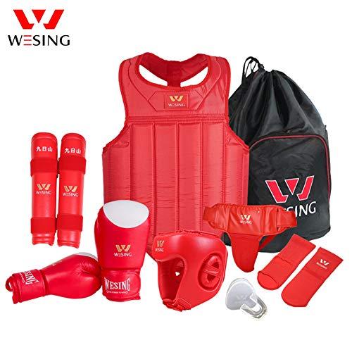 Wesing Professional Herren Damen MMA Kampfsport Boxen Muay Thai Sparring Wettkampfset mit Tasche - rot - L -