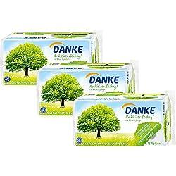 Danke Toilettenpapier 3-lagig Riesenpackung, 3 Packungen (je 16 Rollen x 150 Blatt)