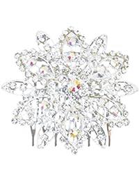 Peineta de Moda en Forma de Flor Adornada con Brillantes Rhinestones para Boda Novia