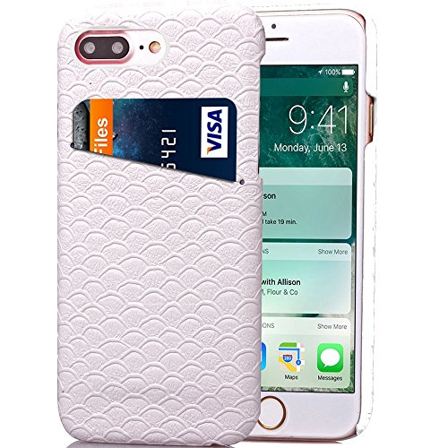 iPhone Case Cover Solid Color Case, Skalierung Muster Hard Cover Zurück mit Card Slot für IPhone 7 Plus ( Color : Rose , Size : IPhone 7 Plus ) White