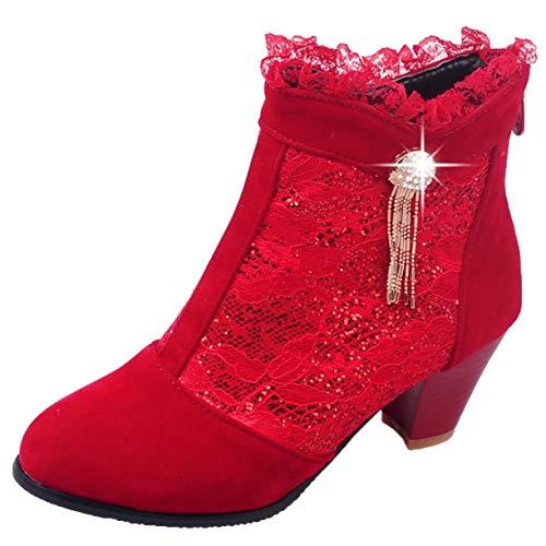 JYshoes Reißverschluss Stiefeletten High Heels Blockabsatz Stiefel mit Spitze Damenstiefeletten Kurzschaft Ankle Boots Rot 38.5EU