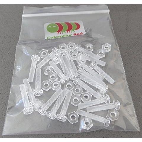 Paquete de 20 tornillos y tuercas transparentes, de plástico acrílico. M4 x 20mm