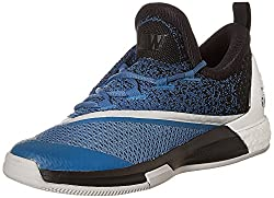adidas Mens Crazylight Boost 2.5 Low Blue, Black and White Basketball Shoes - 9 UK
