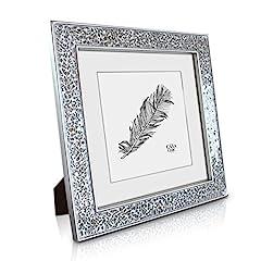 Idea Regalo - Glamour by Casa Chic Cornice Mosaico 25 x 25 cm - Argento - Stile Moderno - Passepartout per Foto 18 x 18 cm Incluso - Larghezza della Cornice 4 cm