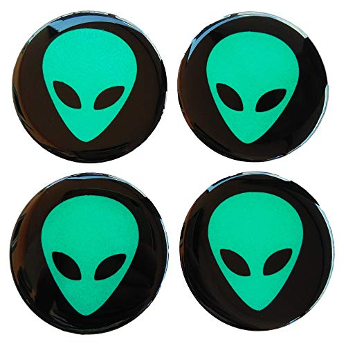 CUSHYSTORE Alien UFO 56 mm gewölbt, 3D grün reflektierend auf schwarzem Rad, 4 Stück Kappe, Nabenabzieher, Aufkleber Emblem für Rennwagen, LKW, Sicherheit bei Nacht, hohe Sichtbarkeit