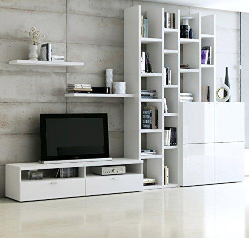 Wohnzimmer Wohnwand Hochglanz wei Fernsehschrank Lowboard CD Regal Anbauwand