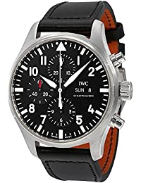 IWC Men's 43mm Black Leather Band Steel Case Sapphire Crystal Automatic Analog Watch IW377709