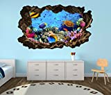 3D Wandtattoo Korallen Riff Schildkröte Fische Wasser Welt Bild Wandbild Wandsticker Wohnzimmer Wand Aufkleber 11F135, Wandbild Größe F:ca. 140cmx82cm