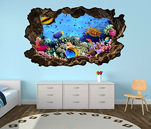 en Riff Schildkröte Fische Wasser Welt Bild Wandbild Wandsticker Wohnzimmer Wand Aufkleber 11F135, Wandbild Größe F:ca. 97cmx57cm (Schildkröten-bilder)