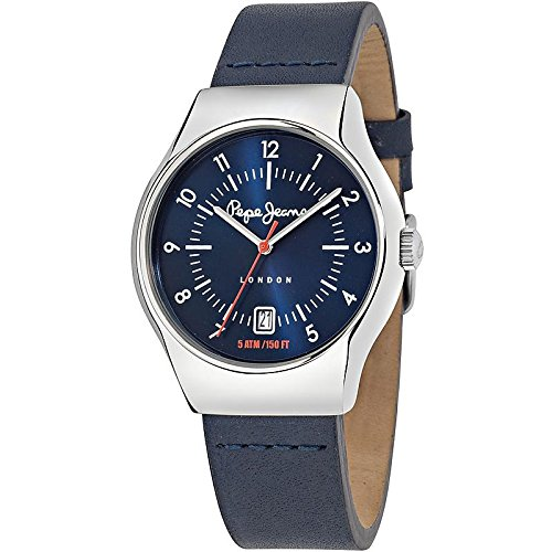 Pepe Jeans Joey Men's Quartz Watch with Blue Dial Analogue Display and Blue Leather Strap R2351113002