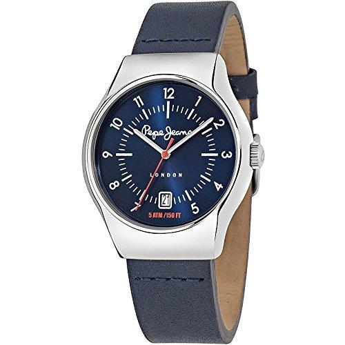 Pepe Jeans joska de cuarzo reloj de pulsera para hombre con esfera azul y el azul de la correa de cuero R2351113002