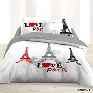 Housse de Couette 220x240 + 2 taies LOVE PARIS - Les Douces Nuits de Maé