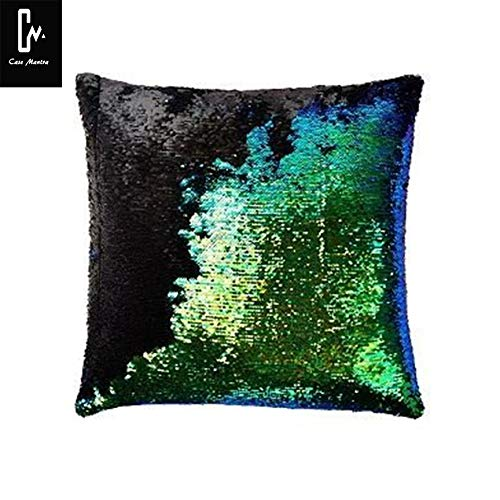 casemantra? Sequin Mermaid Throw Pillow Cover with Magical Color Changing Reversible Paulette Design Decor Cushion Pillowcase Set of 1 (16X16 inch) - Green & Black