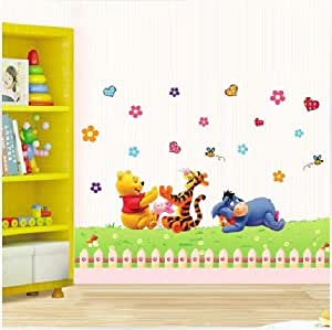 aolevia 1pc sticker mural naturel winnie l 39 ourson et sa famille stickers pour enfant autocollant. Black Bedroom Furniture Sets. Home Design Ideas