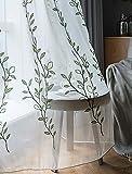Seite Bside Sheer Vorhänge, bestickt Blattwerk Ast Rod Pocket Garden Style Voile Panels Home Dekorationen Kids Esszimmer Schlafzimmer (1Panel, B 50x L 213,4cm, blau), Polyester-Mischgewebe, Green Embroidered, 50W x 95L Inch, 1 Panel