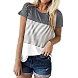 Moonuy,Damen Sommerbluse, 2018 Damen Kurzarmbluse, Dreifarbiges Blockstreifen T-Shirt Lässige Baumwollmode O-Ausschnitt Sweatshirt Farbklecksshirt (Grau, EU 34/Asien S)
