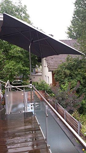 STABIELO 2 supports de parasol en acier inoxydable pour balcon pour mât de 25 à Ø 50 mm – pour extérieur ou intérieur avec 11 + 6 cm de distance du support de parasol – breveté Holly – pour fixation à des éléments ronds ou carrés jusqu'à 40 mm avec support en acier inoxydable rotatif à 360 ° et capuchons de protection anti-rayures en caoutchouc – support pivotant à 360 ° – support avec bague d'écartement pour mât de parasol de 25 à 50 mm avec douille de 13 cm de profondeur.