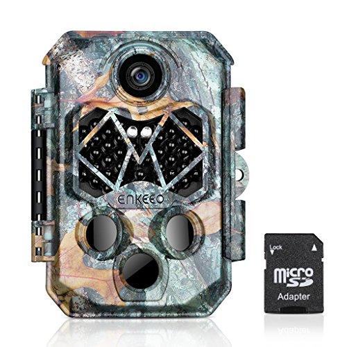 ENKEEO 20MP 1080P HD Fotocamera da Caccia PH770 Fototrappola con 32GB Scheda Inclusa, IP66 Impermeabile, 45pcs 940nm IR LEDs Invisibili Visione Notturna e 0.2s Tempo di Attivazione, 2.4