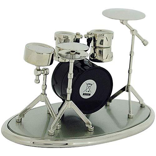 Miniatur Uhren Schlagzeug silberf. & schw. lackierte Sammleruhr 9078 - 4