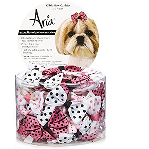 Aria Olivia Bows for Dogs, 56-Piece Canisters by Aria - Dog Grooming Ribbon