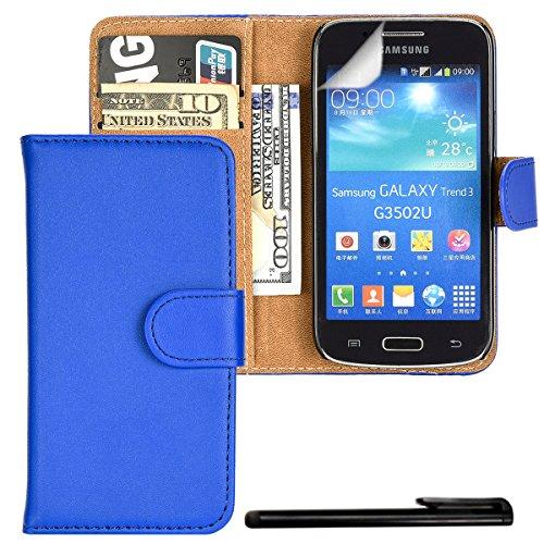 4in1 PREMIUM Wallet Hülle in Blau für - Samsung Galaxy Core Plus G3500 / G3502 (SM-G350) - Schutzhülle Flip Case Etui Cover im Portemonnaie Bookstyle / Tasche mit Kartenfach und Standfunktion + Touchpen, Schutzfolie und Tuch