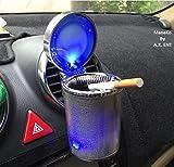 #10: ManeKo Designer Cigarette Car Ash Tray/Ashtray with Blue LED Light & Rainbow Colors for Hyundai Creta All Models & Types