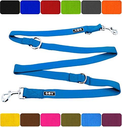 DDOXX Hundeleine Premium Nylon | 4fach verstellbar | für große, mittelgroße, mittlere & kleine Hunde | Hundeleinen | Führleine | Doppelleine | Flexi ble Leine Hund | Blau, M - 2,0 x 200 cm