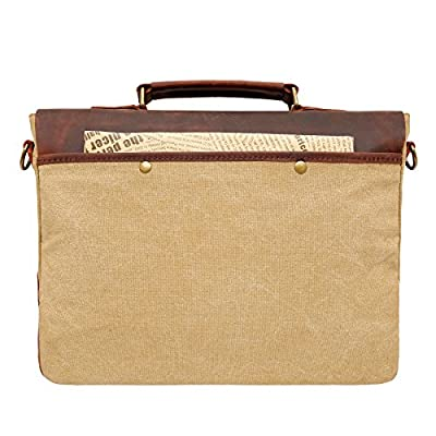 bupell Besace pour ordinateur portable en cuir véritable/Canvas - Sac à bandoulière Messenger Bag Cartable en 1