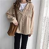 LnLyin Frauen Casual Langarm Shirts Frauen Cord Jacke Mantel Mode Damen Strickjacke Mantel Outwear, Aprikose