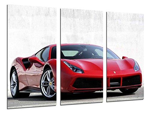 Cuadro Moderno Fotografico Coche Deportivo, Ferrari Rojo, 97 x 62 cm Ref. 26385