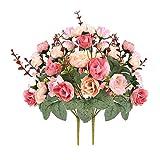 Weimi Künstliche Seide Kleine Rose Gefälschte Blumen 7 Zweig 21 Köpfe Vintage Blatt Pflanzen für tischdekoration hochzeit blumensträuße Pack von 2