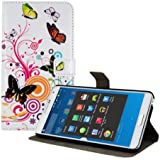 kwmobile Hülle für Samsung Galaxy Note 3 N9000 / N9005 - Wallet Case Handy Schutzhülle Kunstleder - Handycover Klapphülle mit Kartenfach und Ständer Schmetterlinge Hippie Design Mehrfarbig Pink Weiß