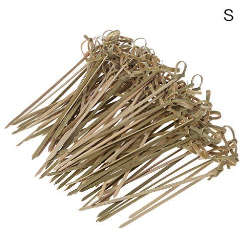 Bambus-stick (JERKKY 100 Stück Einweg Bambus Krawatte Geknotete Spieße Twisted Endet Cocktail Food Obst Picks Gabel Sticks Buffet CuPieceake Topper Hochzeitsfest-Dekoration 9cm)