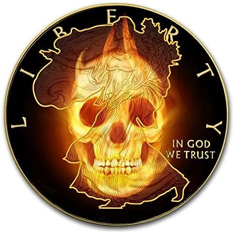 Burning Walking Liberty Skull $11oz Argento e