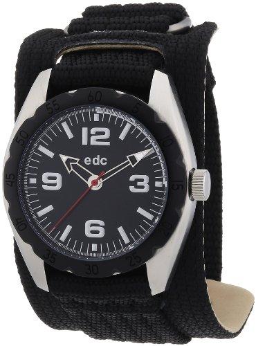 Edc MINI MICRO By Esprit EE100541001-Grid Men's Watch Analogue Quartz Black Dial Black Nylon Strap