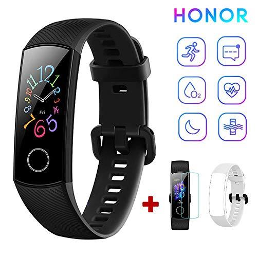 HONOR Band 5 Fitness Tracker Pulsmesser AMOLED 0,95 Zoll Smart Watch 5ATM wasserdichte Bluetooth 4.2 (schwarz)