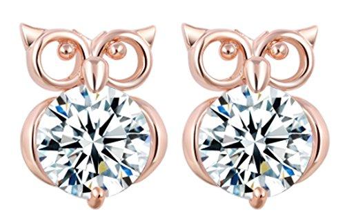 saysure-silver-color-gold-color-metal-cute-animal-owl-stud-earrings