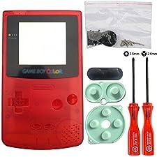 iMinker Full Housing Shell paquete de piezas de repuesto de la cubierta de la caja con herramientas abiertas para Nintendo Gameboy Color, GBC (Rojo transparente)