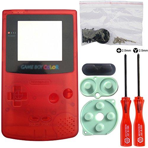 iMinker complet boîtier shell pack case pièces de rechange avec des outils ouverts pour Nintendo Gameboy Color, GBC (Rouge transparent)