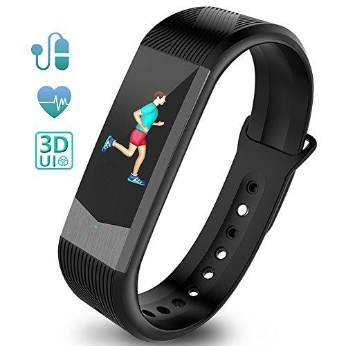 Fitness Tracker Fitness Armband Schrittzähler Uhr Pulsmesser Wasserdicht 3D UI Farbdisplay mit Schlaf-Monitor Kalorienzähler GPS-Routenverfolgung Blutdruckmonitor Notifications Anrufe SMS Nachrichten Reminder