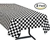 Cookey Manteles mesa Rectangular, 2 Paquetes Manteles de Plástico, Blanco y Negro Enrejado, 137 x 274cm Desechables Manteles, Restaurante de boda Banquete Decoración
